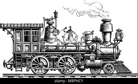 Retro steam locomotive, train. Vintage sketch vector illustration - Stock Photo