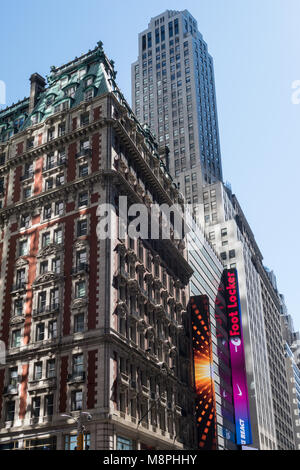 Contrasting Architecture in Times Square, NYC, USA - Stock Photo