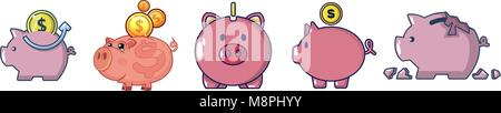 Piggy bank icon set, cartoon style - Stock Photo