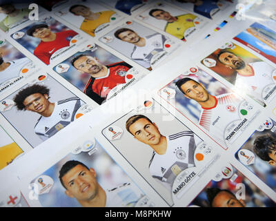 12 March 2018, Italy, Modena: German national team player Mario Goetze can be seen on a sticker sheet at a Panini - Stock Photo