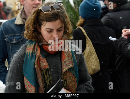 19 March 2018, Germany, Habach: The actress Ronja Forcher ('Bergdoktor' lit. mountain doctor) attends the memorial - Stock Photo
