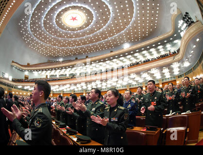 Beijing, China. 20th Mar, 2018. The first session of the 13th National People's Congress (NPC) holds its closing - Stock Photo