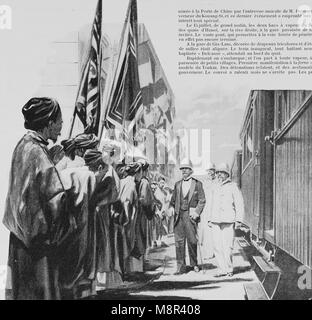 Inauguration of the railway constructed by the France between Hanoi and China in 1900, Picture from the French weekly - Stock Photo