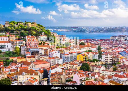 Lisbon, Portugal old town skyline. - Stock Photo