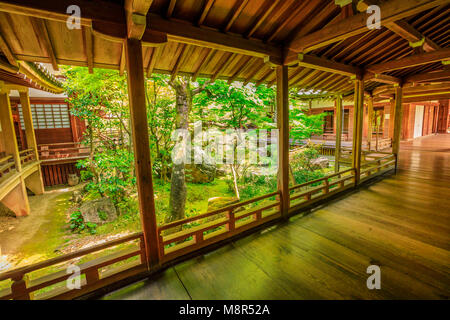 Kyoto, Japan - April 28, 2017: wood footpath corridors connecting buildings of Eikan-do Temple. Zenrin-ji is located - Stock Photo