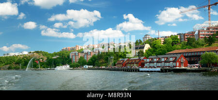 View to Stockholm with a small pier near Nacka strandt - Stock Photo