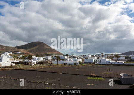White house in Tinajo, Lanzarote, Canary Islands, Spain - Stock Photo