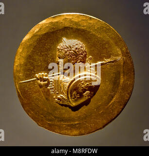 Golden Coin of  Roman emperor Caracalla ( Marcus Aurelius Severus Antoninus Augustus), formally known as Antoninus, - Stock Photo