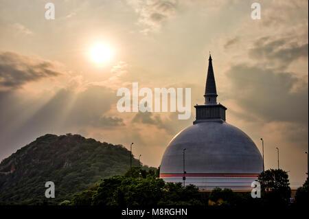 An HDR imgae of the Maha Stupa aka Maha Seya on top of Mihintale Hill in Sri Lanka - Stock Photo