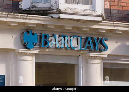 Barclays Bank sign above the branch in Llangollen North Wales - Stock Photo