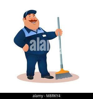 Smiling cartoon janitor with mop. Funny fat character in blue suit with broom. Happy flat cleaner in uniform from - Stock Photo