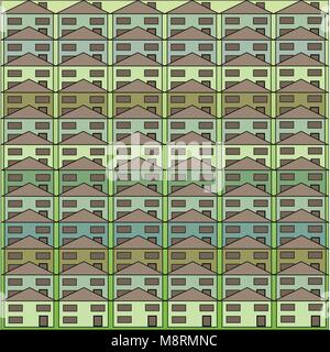 Square filled with block housing of mini green, blue and aqua homes. - Stock Photo