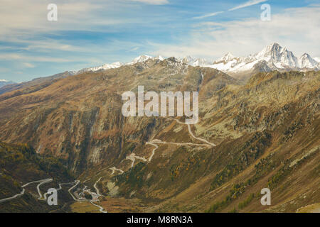 Road to Grimsel pass, Switzerland - Stock Photo