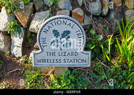 A National Trust omega sign saying 'The Lizard Wireless Station', the Lizard Peninsula, Cornwall, South West England, - Stock Photo