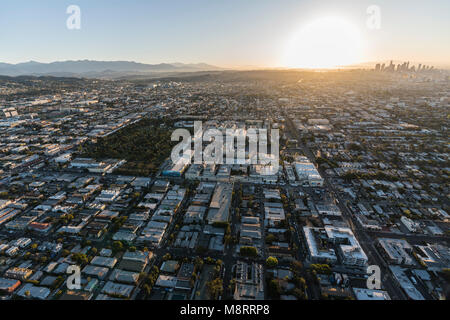 Los Angeles, California, USA - February 20, 2018:  Sunrise aerial view towards Paramount Pictures Studio in Hollywood - Stock Photo