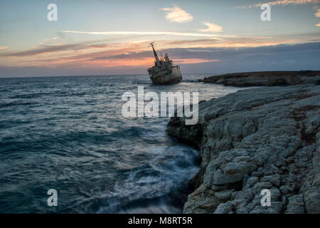 The Edro 3 shipwreck off the coast of Pegeia at sunset, Paphos district, Cyprus, Mediterranean - Stock Photo
