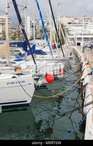 Sailboats moored in Marbella Puerto Deportivo de Marbella, Costa del Sol, Andalucia, Spain. - Stock Photo