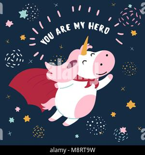 Cow in superhero mask and cloak.You are my hero Stock Photo