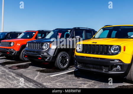 Noblesville - Circa March 2018: Jeep Automobile Dealership. Jeep is a subsidiary of Fiat Chrysler Automobiles. FCA - Stock Photo