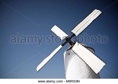 Low angle view of traditional windmill against clear sky - Stock Photo