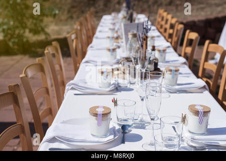 High angle view of place setting on dining table at wedding ceremony
