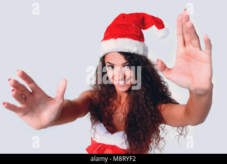 Young christmas woman show white background - Stock Photo