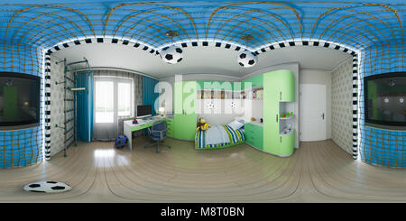 3d illustration of nursery interior design. Spherical 360 degrees, seamless panorama modern studio apartment. Football - Stock Photo