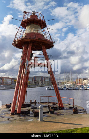 The Old wartime Navigational Light, now moored in an inner harbour and Marina in Dunkirk, Northern France. The City - Stock Photo