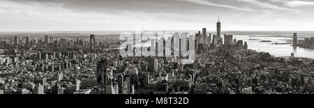 Aerial panoramic view of Lower Manhattan in Black and White. New York City - Stock Photo