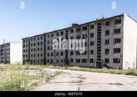 Abandoned soviet apartment house in Skrunda, Latvia - Stock Photo