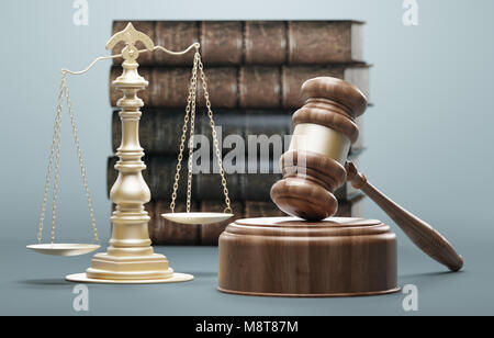 Judge's gavel, concept of law and justice, 3d render illustration - Stock Photo