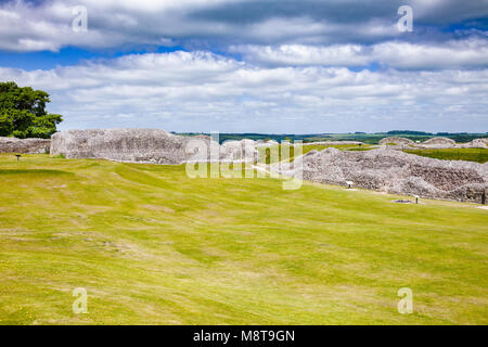 Ruined Old Sarum, the site of the earliest settlement of Salisbury, Wiltshire, South West England, UK - Stock Photo