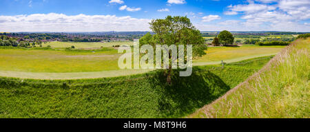Salisbury cathedral city panoramic view from the Old Sarum, the site of the earliest settlement of Salisbury, Wiltshire, - Stock Photo