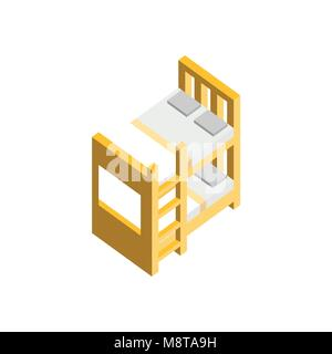 Bunk Bed 3D Isometric Furniture Vector Illustration Graphic Design - Stock Photo