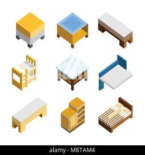 3D Isometric Home Furniture Vector Illustration Graphic Design Set - Stock Photo