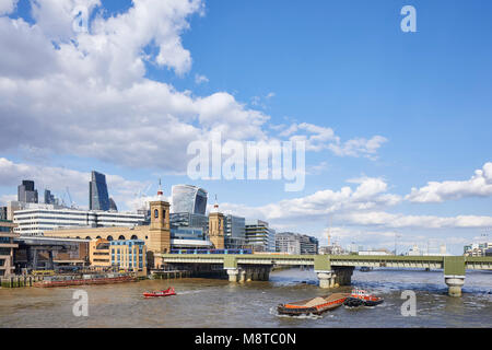 View of the River Thames with 20 Fenchurch Street and Cannon Street Railway Bridge. The River Building, London, - Stock Photo