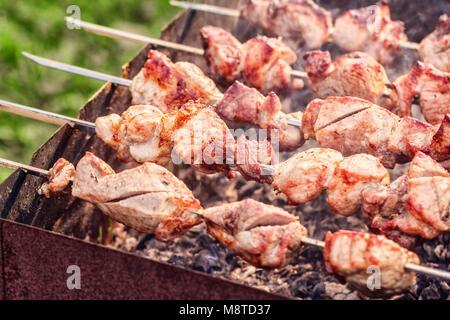 Fresh juicy appetizer pork meat kebabs on skewers at summer day - Stock Photo