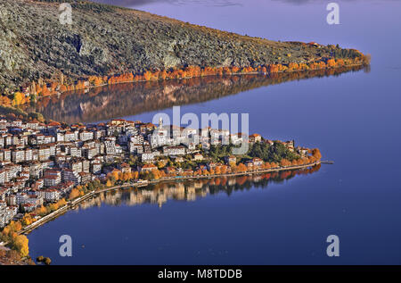 Aerial panoramic view of Kastoria city, a traditional gorgeous town built on the shores of Lake Orestiada,West Macedonia, - Stock Photo