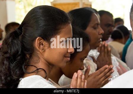 Local people and pilgrims praying and giving flower gifts at the Jaya Sri Maha Bodhi temple in Anuradhapura, Sri - Stock Photo