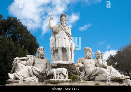 """The sculpture called """"Fontana della dea di Roma"""" in Piazza del Popolo, Rome Italy. - Stock Photo"""