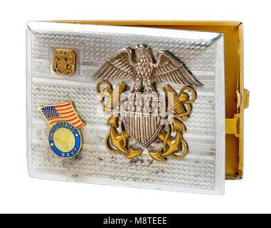 WW2 United States Navy cigarette case - Stock Photo