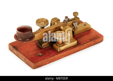 Early antique GPO (British Post Office) telegraph key for sending telegram messages using Morse Code, Patent No - Stock Photo