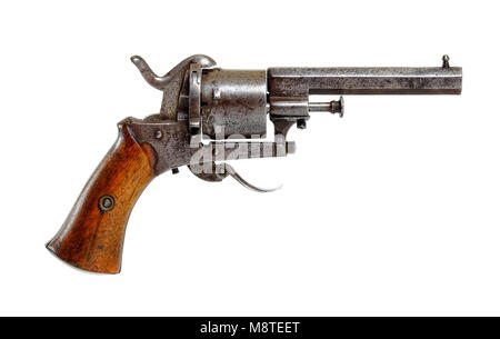 Late 19th century antique Belgian six-shot rim fire pistol with Liege proof marks and walnut grip - Stock Photo
