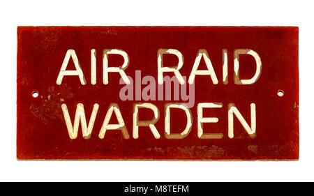 WW2 British Air Raid Warden sign - Stock Photo