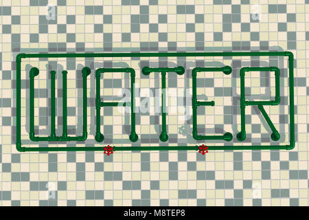 illustration of the word water formed from pipes - Stock Photo