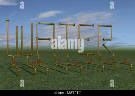 illustration of the word water formed from pipes for sprinkler irrigation - Stock Photo
