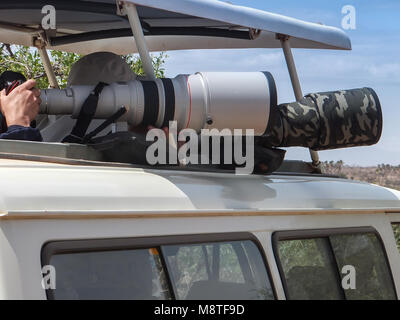 Photographers with telephoto lenses taking pictures on a game drive in Samburu National Park, Kenya. - Stock Photo