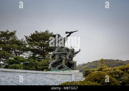 Seoul, South Korea - March 19, 2018 : Granite gravestones with commemorable in Seoul national cemetery - Stock Photo