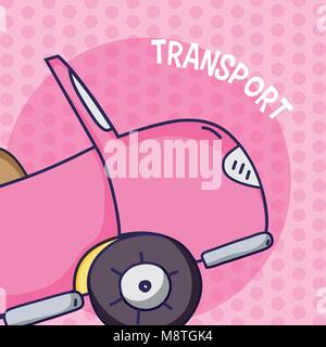 Pink convertible over colorful background - Stock Photo