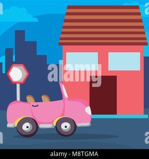 Pink convertible car on neighborhood - Stock Photo